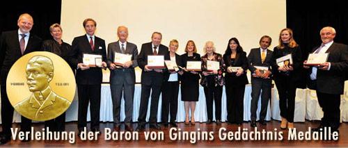 Verleihung der Baron von Gingins Gedächtnis Medaille